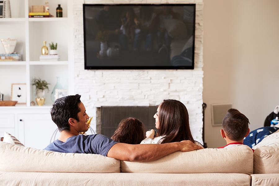 Family in living room.
