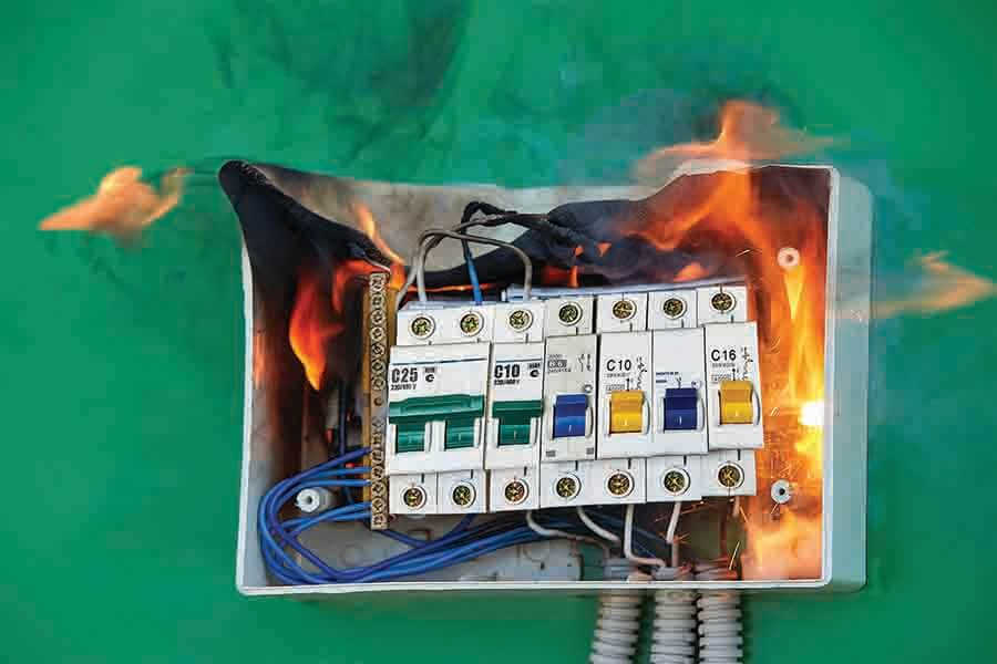 electrical fire broke out in switch box due to lighting and loose wiring